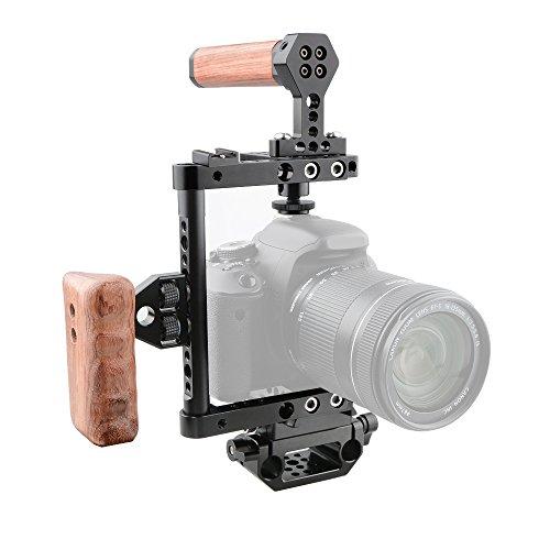 CAMVATE Kamera Käfig Holzgriff mit Schnellwechselplatte für 60D, 70D, 80D, 5D MarkII, 5D MarkIII (rechter Griff)