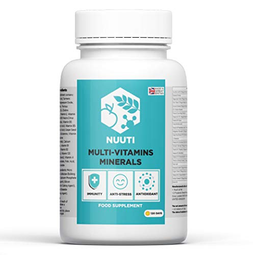 Nuuti Multivitamins and Minerals Supplement - Complete Formula with Turmeric Powder & Grape Seed Extract - Supports Healthy Bones, Skin & Hair - Natural Energy & Immune Booster - 120 Vegan Tablets