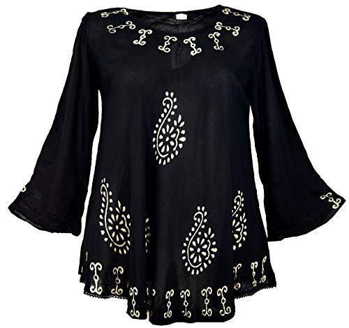 Guru-Shop XXL Bluse, Batik BohoTunika Hippie Chic - Schwarz/weiß, Damen, Synthetisch, Size:46, Tops & T-Shirts Alternative Bekleidung