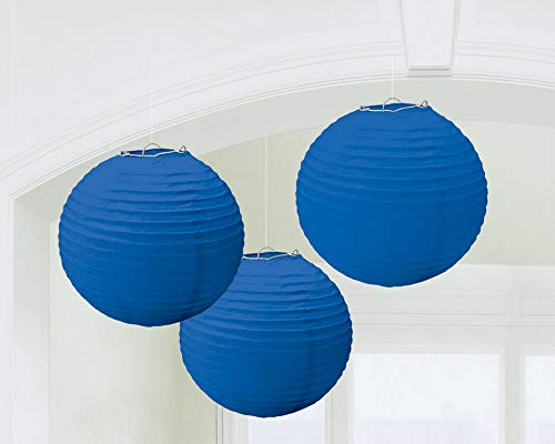 """Traditional Hanging Round Lantern Party Decoration, Royal Blue, Paper , 9"""", Pack of 3"""