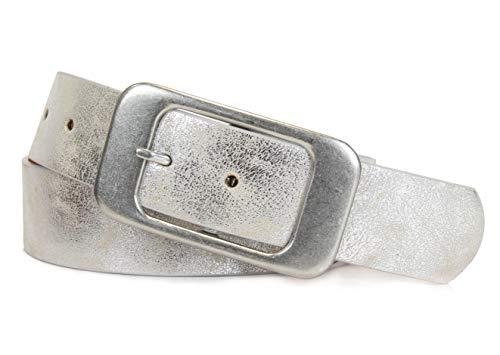 Schlichter Damen Gürtel mit klassischer silberner Schnalle, Breite ca. 3,7 cm, Silber, 80 cm (für Hüftweite 75-85 cm)
