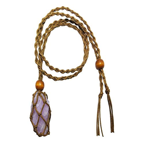 ABCBCA Collar de Piedra Colgante Natural Lucky Love Purple Irregular Natural Rough Stone Collar de Cristal DIY Regalo (Color : Brown Rope)