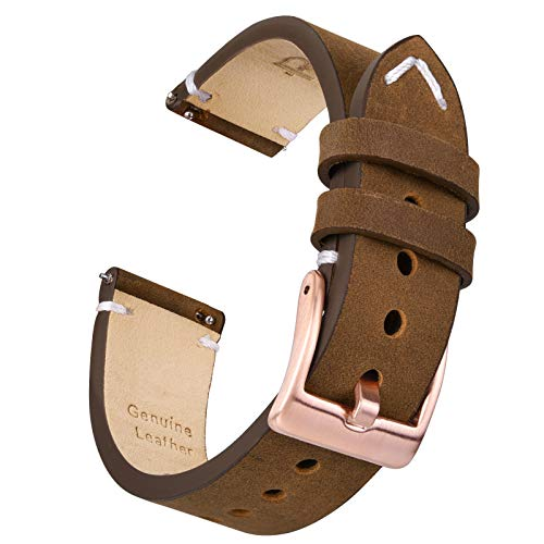 Ritche 18mm Watch Band Saddle Brown Leather Watch Strap Quick Release Compatible with Fossil Q Gen 4 Venture HR Watch Bands for Men Women