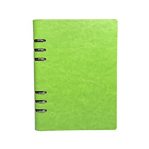 Cuaderno A5, cuaderno recargable de cuero, archivador con anillas, tapa dura, diario de bolsillo, color verde
