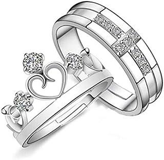 بسيطة الرجعية زوجين تاج الدائري مفتوح مجوهرات كورية خاتم للرجال والنساء