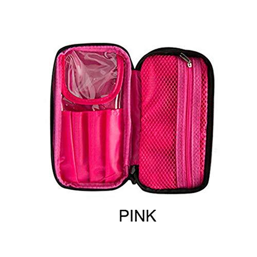 Queenback Draagbare make-uptas toilettas opbergtas multifunctionele make-uptas reisborstels map, roze (roze) - QUE-006