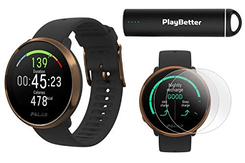 Polar Ignite Fitness GPS Watch Power Bundle (Black-Copper, M/L) | with PlayBetter HD Screen Protectors & Portable Charger | Polar Precision Heart Rate, Integrated GPS & Sleep Plus Tracking