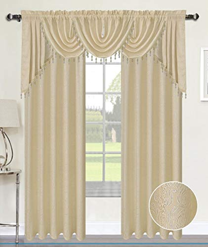 Luxury Home Textiles Angelina Damask 7 Piece Curtain, Beaded Austrian VALANCES and Swag Set, Beige