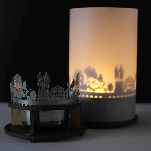 13gramm Weimar-Skyline Windlicht Schattenspiel Premium Geschenk-Box Souvenir, inkl. Kerzenhalter, Kerze, Projektionsschirm und Teelicht