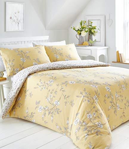 Portfolio Yellow Floral Duvet Cover Bed Set, Polycotton, Ochre, Single