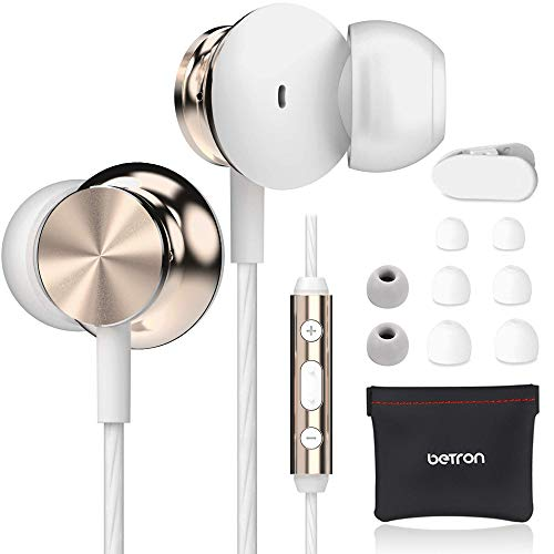 Betron BS10 Noise Isolating Earphones, in Ear Headphones with Microphone and Volume Control, Powerful Bass Sound Includes 3 Different Sized Pairs of Ergonomic Earbuds and Carry Bag, Gold