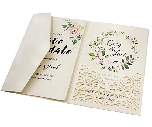 25 sets Pearl White/Ivory/Pink/Navy Blue/Burgundy paper Tri Fold Vertico pocket Laser Cut Vine Wedding Invitations Cards Hollow Carving Greeting invites Engagement Birthday Bridal Shower (ivory)