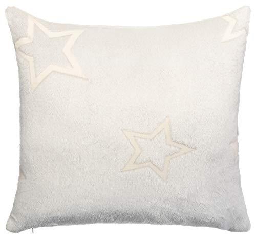 Brandsseller Kissen Leucht Sterne -Glow in The Dark- Dekokissen Flanell Kuschelkissen 45x45 cm Hellgrau
