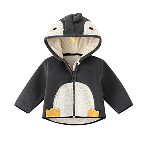 Sunbona Toddler Baby Boy Girls Cute Cartoon Fleece Hooded Coat Full Zipper Cotton Warm Thicken Puffer Jacket Outwear Clothes (Black, 12-18 Months)