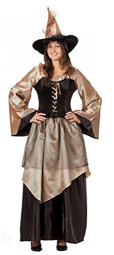 r-dessous hochwertiges Hexenkostüm mit Hut Zauberin Feen Mittelalter Kleid Damen Kostüm Halloween Karneval Groesse: L/XL