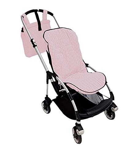 Conjunto colchoneta o funda y bolsa panera para silla carrito Bugaboo Bee. Vichy (Rosa)
