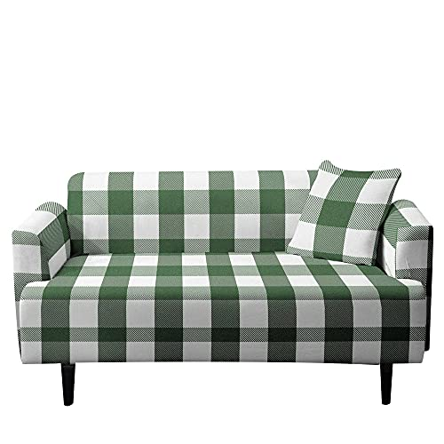 Surwin Plaid Funda de Sofá Elástica para Sofá de 1 2 3 4 plazas, 3D Universal Antideslizante Cubierta de Sofá Cubre Sofá Funda Furniture Protector (Verde,2 plazas - 145-185cm)
