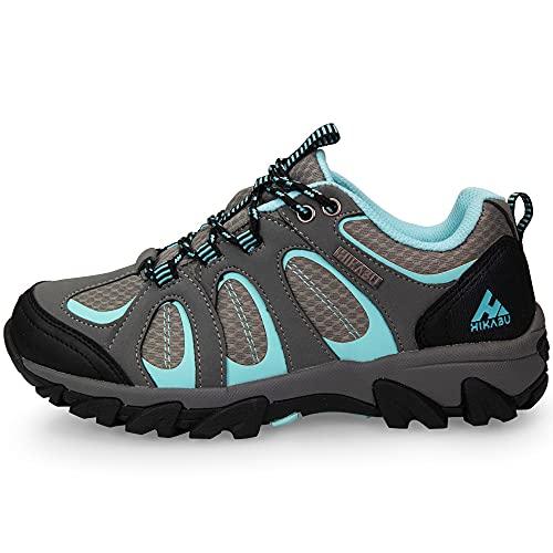 Minify Hikabu - Scarpe da trekking da donna, taglia 37-42, suola in gomma, per attività all'aperto, trekking, passeggiate e passeggiate, Multicolore (nero, grigio, menta.), 38 EU