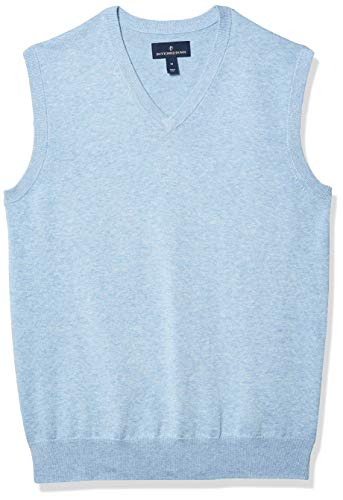 Amazon Brand - Buttoned Down Men's 100% Supima Cotton Sweater Vest, Light Blue, Large