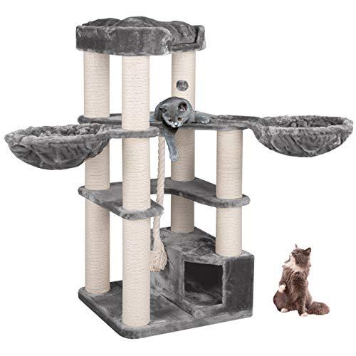 Happypet® Kratzbaum XL stabil | 161 cm hoch | für große Katzen | 47 kg Premium Qualität | 12 cm Dicke Sisalstämme | Höhle, Liegemulde, Spiel-Tau | geprüfte E1 Holzplatten | Main Coon | GRAU