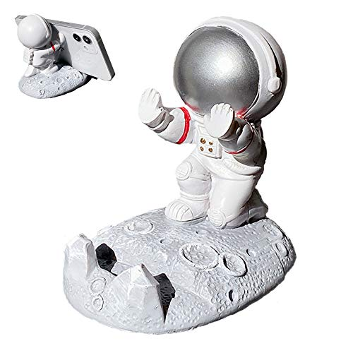 Yatchen Cute Cell Phone Stand Car Holder Cool Fun 3D Cartoon Astronaut Design Mobile Phone Tablet Bracket for Desk Compatible with All Smartphones for Children Gift Decor Home (Push Hand Silver)