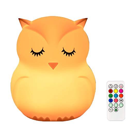 Powstro Luce notturna a LED per bambini, simpatica luce in silicone che cambia colore a forma di gufo con telecomando, luce da comodino ricaricabile USB, regali di Natale per bambini