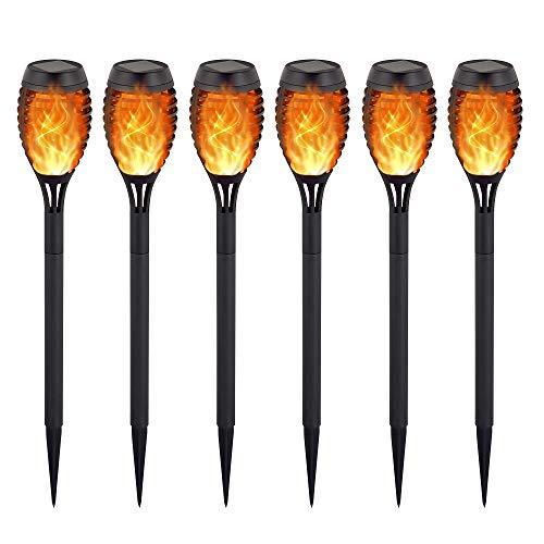 Devo Mini Solar Torches Lights, Waterproof Flickering Flames Torches Lights Outdoor Solar Flame Lights 12 LED Decoration Lighting for Patio Driveway 6 PCS