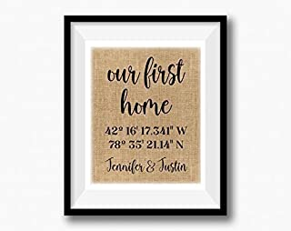 Personalized Our First Home | Wedding Gift | Moving In Together | Latitude Longitude Linen Print | GPS Coordinates | Personalized Housewarming Couple