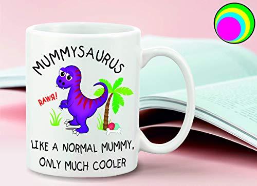 sticker licker Grappige Paarse T-Rex Dinosaur Mummysaurus Mum Motief Met Als Een Normale Mama, Alleen Veel Koeler Slogan 10oz Koffie Thee Mok Moeder Dag Verjaardag Gift Plezier Slechte Invloed Mok