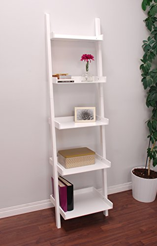 Kiera Grace Modern 5-Tier Wood Ladder Bookshelf, White