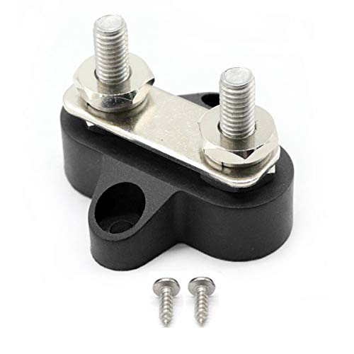 "RKURCK M6 (1/4"") Dual Heavy-Duty Terminal Stud Power Anschlussbolzen-Leistung and Ground Junction Block with Connecting Link (Black)"