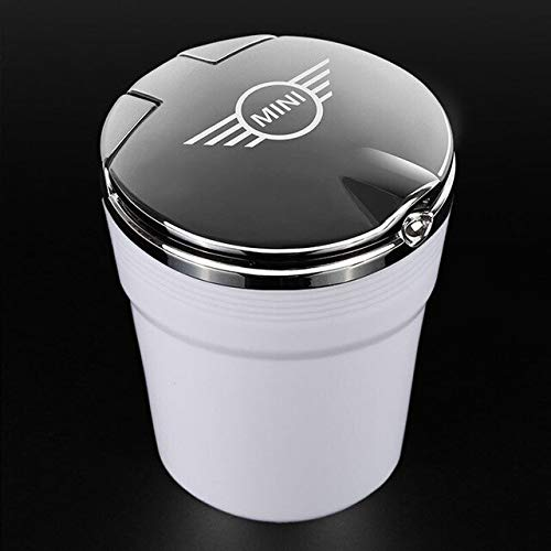 Brilliant Classy and Luxurious Design Car Sticker Car Ashtray with Led Lights Cover Creative Fit for BMW Mini Cooper R56 R55 R60 R61 F55 F56 Auto Accessories Best CAR Ashtray (Color : Silver)