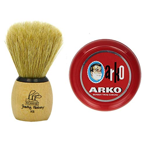 Arko/Omega Rasierseife 90 g in traditioneller Schale + Rasierpinsel The Shave Factory