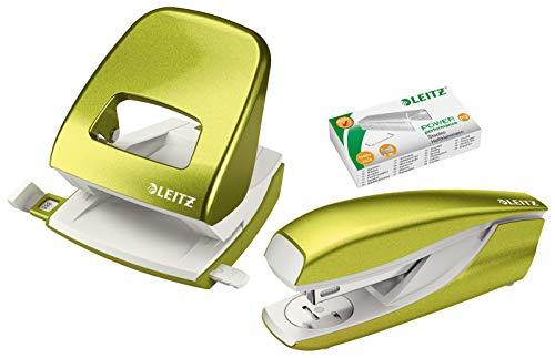 Leitz 5008 NeXXt Series Bürolocher, Metall, bis zu 30 Blatt (Set │ grün metallic)