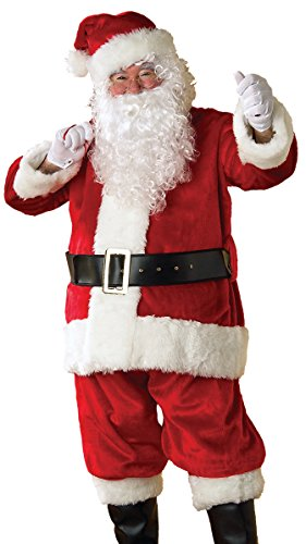Rubies Men's Deluxe Regency Plush Santa Suit, Red/White, XX-Large