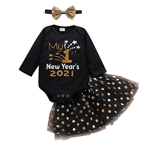 Alivisa Juego de Vestido de bebé Juego de niñas Traje para niños Mangas largas Ropa de Escalada Ropa + Bronce Mesh Gauze Tutu Falda + Diadema Año Nuevo (0-24M)