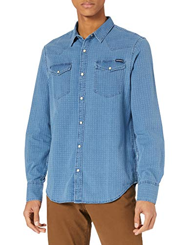 Superdry M4010344A Chemise à Boutons, Indigo Dobby Check, XL Homme