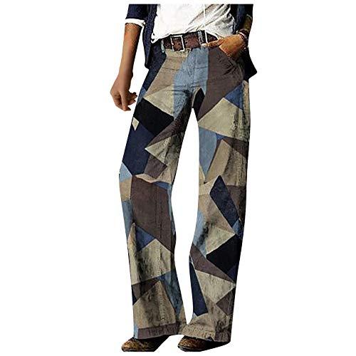 Damen Casual Wide Hose Casual Sporthose Loose Jogginghose Kordelzug Palazzo Lounge Pants Breites Bein Cargo Straight Streetwear Jeans Lose Krawatten Camouflage Print Pants