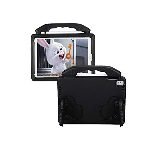 QZPM Kids Shockproof Protective Case 360 Degree Rotating, Hand Strap Shoulder Strap Case for Ipad Air1/2/PRO 9.7'/Ipad EVA Handle Stand Case Cover,Black