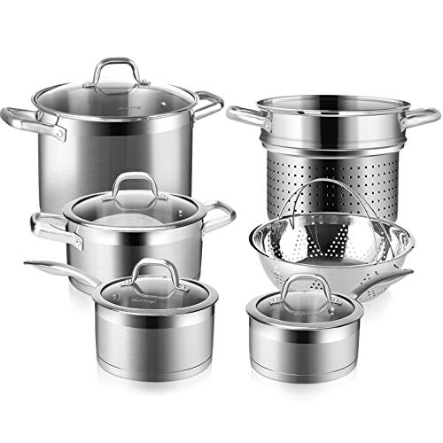 Duxtop Professional Stainless Steel Induction Cookware Set, 10PC Kitchen Pots and Pans Set, Heavy...