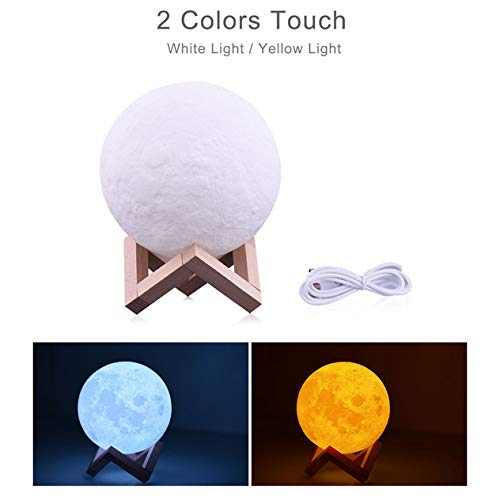 YQHWLKJ Creative Moon Light 3D Print Night Light Lámpara de mesa recargable 3 Color Faucet Control Lights 16 Color Change Remote Led Moonlight Gift