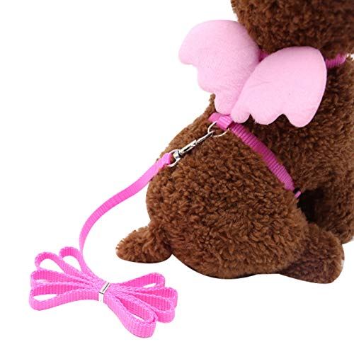 Cute Solid Color Mini Wings Nylon Pet Harness Chest Strap Dog Cat Lead Leash - Pink M