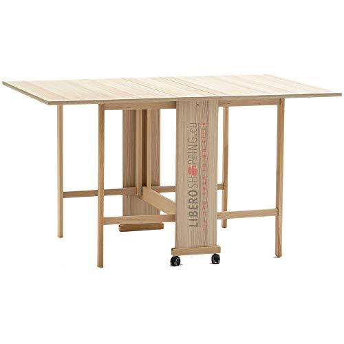 Tavolo consolle richiudibile in legno con ruote piroettanti GIORGIA (Rovere)
