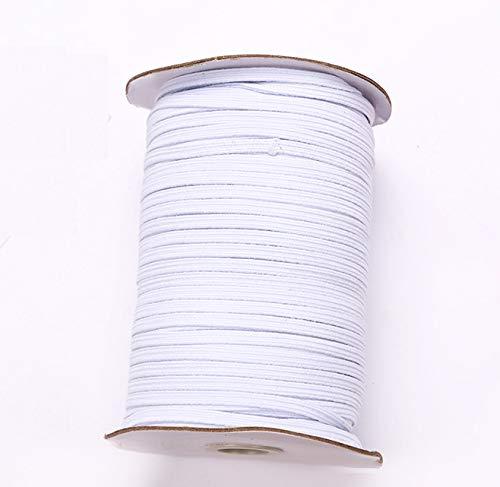 """XHJKZ 100 Yards Elastic Band for Sewing 1/8"""" (3mm) Elastic Cord Heavy Stretch High Elasticity Knit for Sewing Crafts DIY Bedspread Cuff Braided Elastic Rope Elastic Spool Elastic String"""