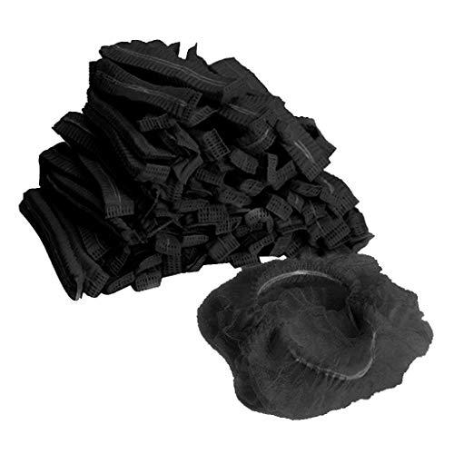 F Fityle 100pcs Baretthauben Einweghauben Klipphauben Vlieshaube Kopfhauben Hygienehauben Kosmetikhauben aus Vlies - Schwarz