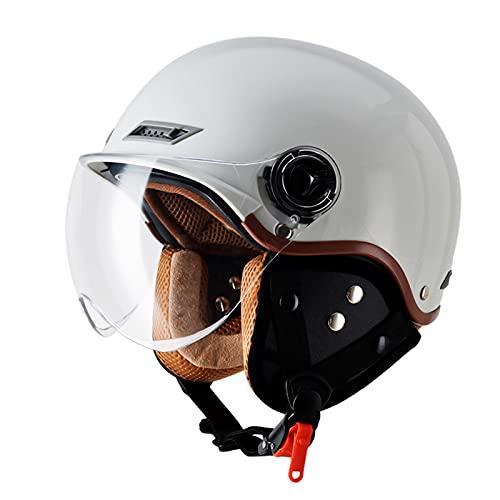 SDKUing Casco de motocicleta para adultos y hombres y mujeres, casco de scooter retro medio casco para Cruiser Scooter ciclomotor DOT/ECE aprobado, 3/4 de cara abierta casco de motocicleta