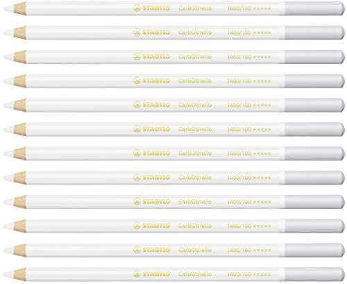 Crayon de couleur - STABILO CarbOthello - Lot de 12 crayons fusains pastels - Blanc titane (1400/100)