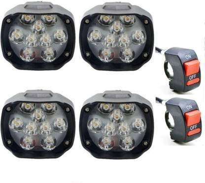 RA ACCESSORIES RA 9 LED Waterproof White 24W Fog Light for Bikes with on/off Handlebar Switch for Motorcycle, Jeep, SUV, Car and Truck - Pack of 6 (4 LED and 2 Switches)