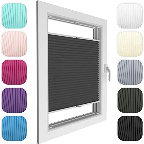 Plissee in 18 farben für Fenster und Türen in allen Größen, Breite 30-130, Höhe 50-150 cm, Faltrollo aus antistatischem Stoff und Multi-Stop-System für die richtige Lichtmenge, für Allergiker geeignet