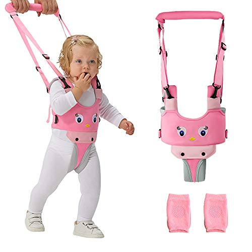 ORANGEHOME Baby Walker, Handheld Walking Harness for Kids, Toddler Walking Harnesses Helper and 2 Pair Knee Pads, Safety Stand and Walk Learning Assistant for 7-24 Month Boy and Girl-Pink